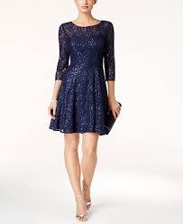 sl fashions sequined lace fit u0026 flare dress dresses women macy u0027s