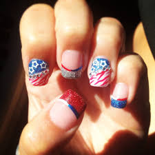 4th of july acrylic nail art designs red white and blue flag