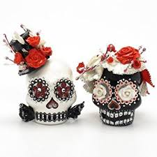 red and black gothic skull wedding cake toppers a00112 skull day