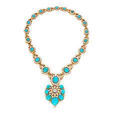 turquoise gold necklace images Fd gallery a turquoise diamond and gold necklace by van cleef jpg