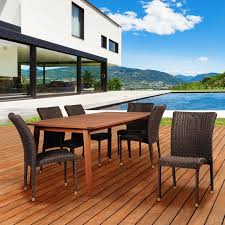 Eucalyptus Outdoor Table by Amazonia Abaco 6 Person Resin Wicker Patio Dining Set With
