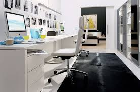 Modern Computer Desk Beauty Home Office Design With Black Plain Carpet And White