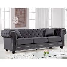 Charcoal Tufted Sofa by Furniture Isabelle Grey Velvet Sofa On Chrome Legs For Stunning