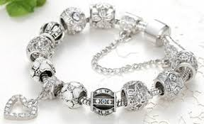charm bracelet heart charm bracelet made with swarovski elements groupon