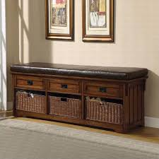 Large Storage Bench Coaster Oak Large Storage Bench With Baskets 501060