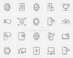 technology sketch icon set stock vector image 76483360