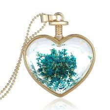 crystal glass pendant necklace images Cute flowers heart crystal pendant fashionalure jpg