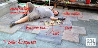 How To Lay Patio Pavers by 231 Designs How Do You Eat An Elephant Diy Slate Stone Paver Patio