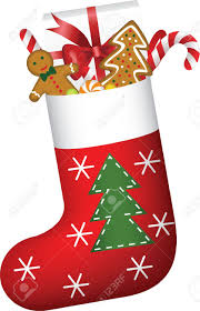 christmas sock full of candies cookies and gift royalty free