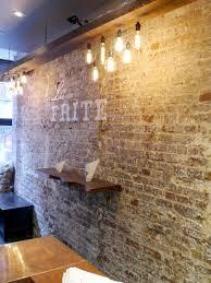 faux interior brick wall restaurant interior design bricks