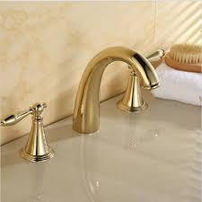 2017 3 holes golden polished bathroom basin sink mixer tap bathtub