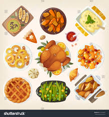 traditional thanksgiving dinner table closeup top stock vector