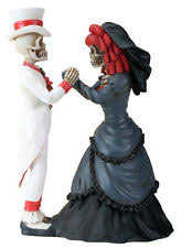 dod skeleton gothic halloween wedding cake topper day of the dead