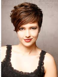 short hair cuts with height at crown the sweeping side fringe and high volume in the crown of this