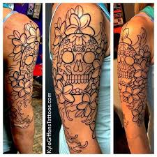 an in progress of a sugar skull half sleeve i m currently