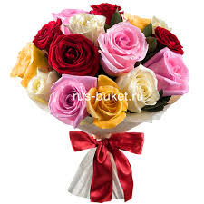 multicolor roses buy roses and bouquets 15 rainbow roses in moscow russian