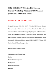 1982 1986 bmw 7 series e23 service repair workshop manual download 1 u2026