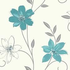 luciana flower floral leaf motif pattern blue white metallic wallpaper
