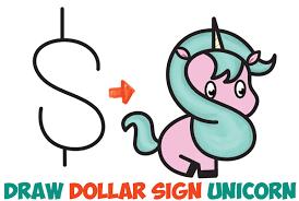 how to draw a cute cartoon unicorn kawaii from a dollar sign