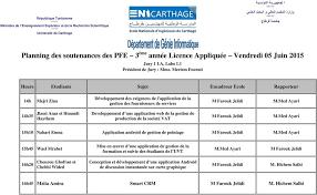 bureau d emploi nabeul pointage planning des soutenances des pfe 3 ème ée licence fondamentale