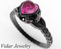 black and pink engagement rings pink sapphire heart and flowers black gold engagement ring vidar