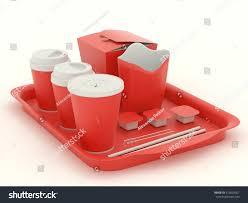 red clear set utensils fast food stock illustration 412624357