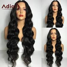 long black hair with part in the middle synthetic wigs black adiors long middle part wavy synthetic wig