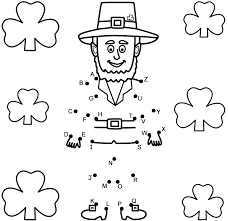 leprechaun with shamrocks connect the dots by capital letters