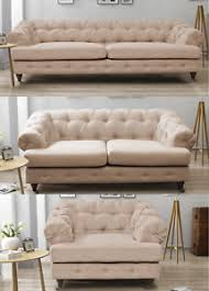 Chesterfield Sofa Linen Imperial Chesterfield Sofa Beige 3 2 1 Seater Fabric Linen