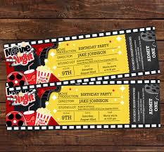 movie ticket birthday invitation movie party invitation