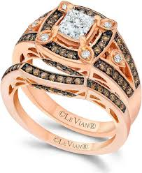 chocolate wedding ring set le vian chocolate and white engagement ring set in 14k