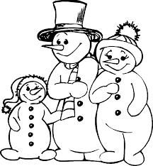 winter snowman family coloring page wecoloringpage
