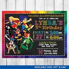 Superhero Invitation Card Dc Superhero Girls Invitation Dc Superhero Girls Birthday Dc