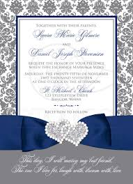 navy blue white and gray damask wedding invitation printed