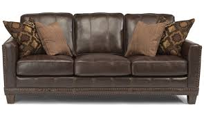 Leather Furniture Flexsteel Port Royal Brown Leather Sofa 13733167170
