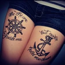 cute small boat anchor tattoo design idea for men and women