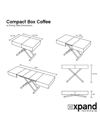 compact box coffee table that changes to a dinner table expand