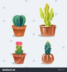 set four cactus flower pot home stock vector 580222324 shutterstock