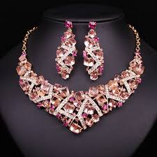 crystal choker necklace set images 2017 women sparkling pink crystal choker necklace earring set jpg