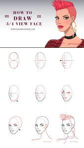 draw a 3 4 view face i draw fashion
