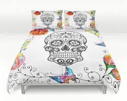 Queen Duvet Comforter Skull Bedding Sugar Skulls Duvet Comforter Cover Set