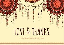 boho wedding thank you card templates by canva