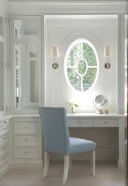 Blue Vanity Table Closet With Built In Dressing Table Transitional Closet