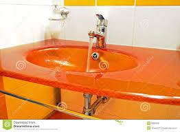 Orange Bathroom Sink Modern Orange Sink Stock Photo Image 8088080