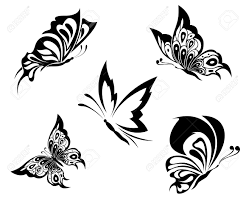black white butterflies of a tattoo royalty free cliparts vectors