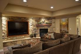 astonishing stone wall in cool basement ideas for media room with