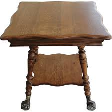 claw foot table with glass balls in the claw antique quarter sawn oak parlor table glass ball and claw feet