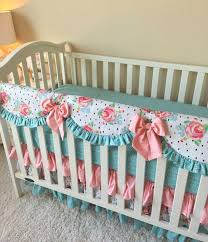 bumperless crib bedding rail cover pink damask 73 00 via etsy