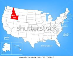 map us idaho vector map united states highlighting state stock vector 151746017