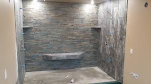 Slate Tile Bathroom Shower Custom Shower C A Roofing And Construction